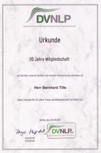 Urkunde Bernhard Tille 20 Jahre DVNLP